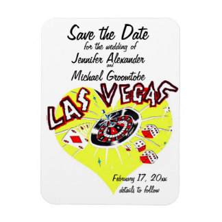 Las Vegas Save the Date Yellow Heart Magnet