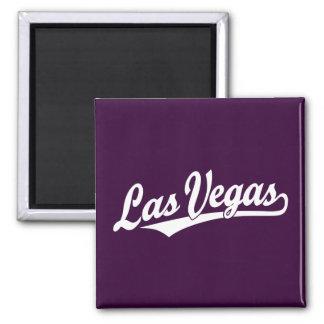 Las Vegas script logo in white 2 Inch Square Magnet