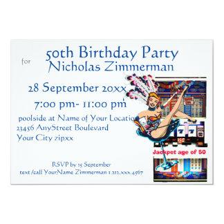 Las Vegas Showgirl and Slot Machine Birthday Card