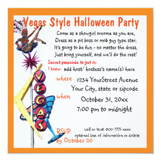 Las Vegas Showgirl Halloween Party Card
