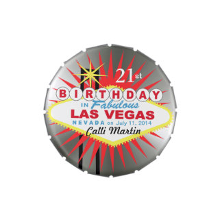 Las Vegas Sign 21st Birthday Favor silver Jelly Belly Candy Tin