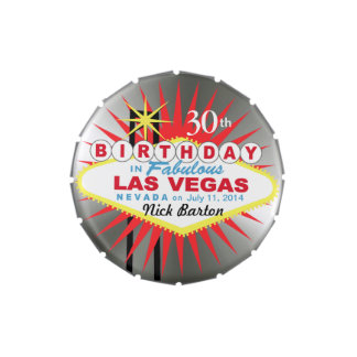 Las Vegas Sign 30th Birthday Favor silver Jelly Belly Tins