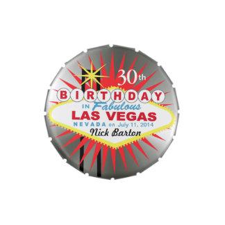 Las Vegas Sign 30th Birthday Favor silver Candy Tin