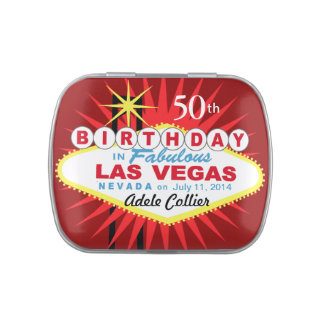 Las Vegas Sign 50th Birthday Favor red Candy Tin