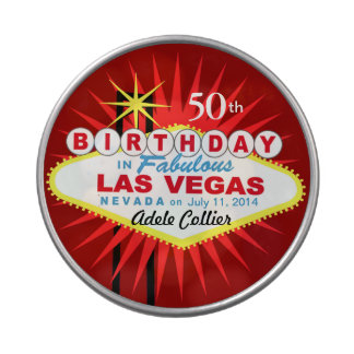 Las Vegas Sign 50th Birthday Favor red Jelly Belly Tins
