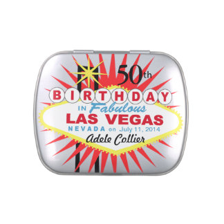 Las Vegas Sign 50th Birthday Favor white Jelly Belly Candy Tin
