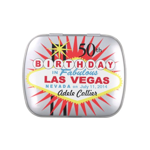 Las Vegas Sign 50th Birthday Favor White Jelly Belly Candy