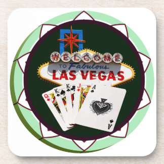 Las Vegas Sign And Two Kings Poker Chip Beverage Coaster