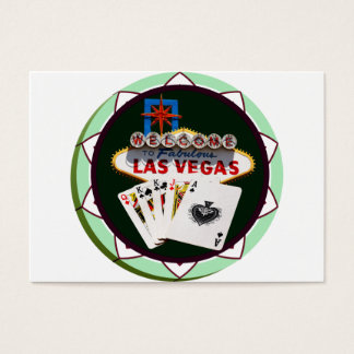 Las Vegas Sign And Two Kings Poker Chip Business Card