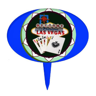 Las Vegas Sign And Two Kings Poker Chip Cake Topper