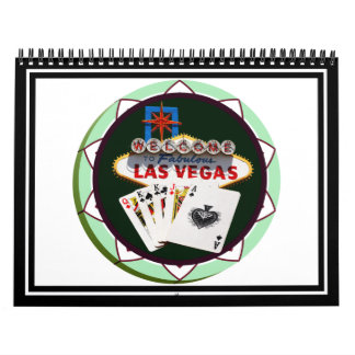 Las Vegas Sign And Two Kings Poker Chip Calendar