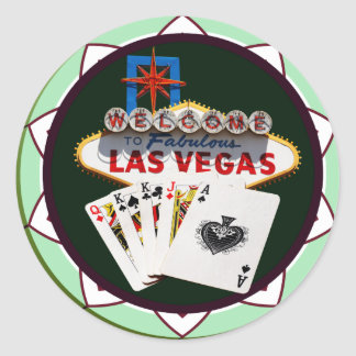 Las Vegas Sign And Two Kings Poker Chip Classic Round Sticker