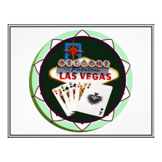 "Las Vegas Sign And Two Kings Poker Chip 8.5"" X 11"" Flyer"