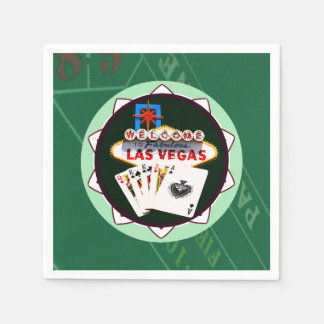 Las Vegas Sign And Two Kings Poker Chip Paper Napkin