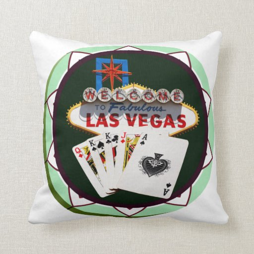 Las Vegas Sign And Two Kings Poker Chip Pillow