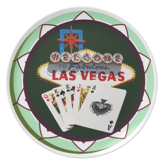 Las Vegas Sign And Two Kings Poker Chip Plate