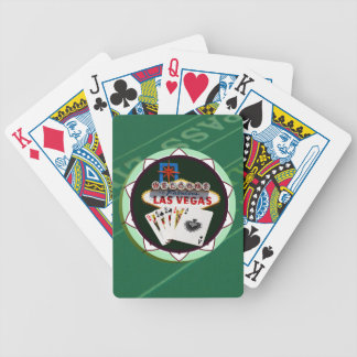Las Vegas Sign And Two Kings Poker Chip Bicycle Playing Cards