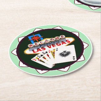 Las Vegas Sign And Two Kings Poker Chip Round Paper Coaster