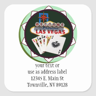 Las Vegas Sign And Two Kings Poker Chip Square Sticker