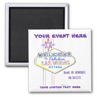 Las Vegas Sign Artsy for Special Events 2 Inch Square Magnet
