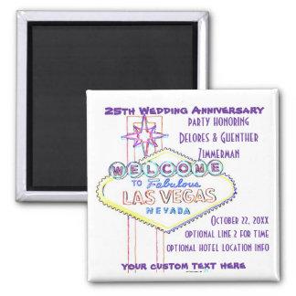 Las Vegas Sign Artsy Wedding Anniversary 2 Inch Square Magnet