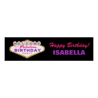 Las Vegas Sign Birthday Party Banner Poster