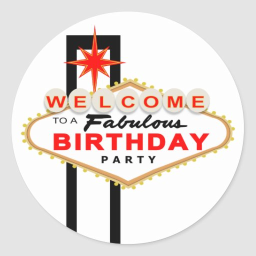 Las vegas sign birthday party stickers zazzle for Arts and crafts stores in las vegas