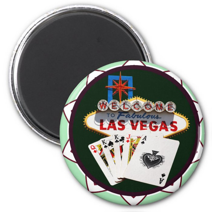 Las Vegas Sign & Cards Poker Chip 2 Inch Round Magnet