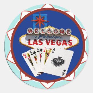 Las Vegas Sign & Cards Poker Chip Classic Round Sticker