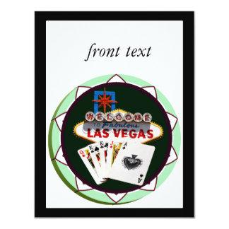 "Las Vegas Sign & Cards Poker Chip 4.25"" X 5.5"" Invitation Card"
