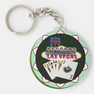 Las Vegas Sign & Cards Poker Chip Basic Round Button Keychain