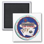 Las Vegas Sign & Cards Poker Chip Magnets
