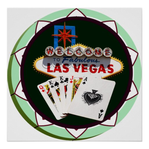 Las Vegas Sign & Cards Poker Chip Poster