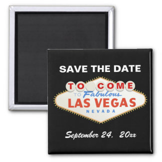 Las Vegas sign contemporary wedding Save the Date 2 Inch Square Magnet