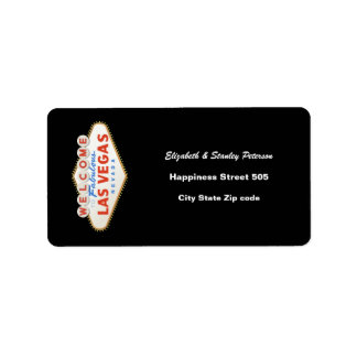Las Vegas sign destination wedding address label