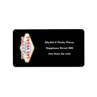 Las Vegas sign destination wedding address label