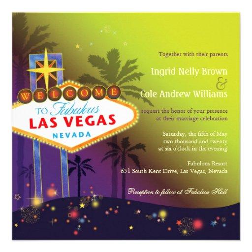 Las Vegas Sign Destination Wedding Invitations 525 Square Invitation Card