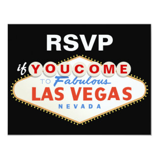 Las Vegas sign destination wedding RSVP card