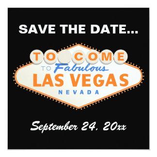 Las Vegas sign destination wedding Save the Date 5.25x5.25 Square Paper Invitation Card