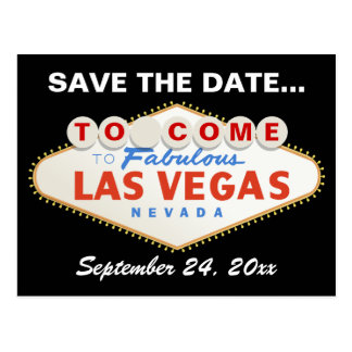 Las Vegas sign destination wedding Save the Date Postcard