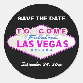 Las Vegas sign destination wedding Save the Date Classic Round Sticker