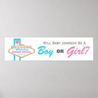 Las Vegas Sign Gender Reveal Party Banner Poster