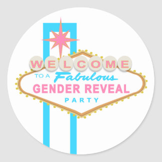 Las Vegas Sign Gender Reveal Party Stickers
