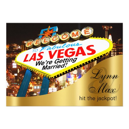 Las Vegas Sign Informal Fun Wedding Personalized Invite