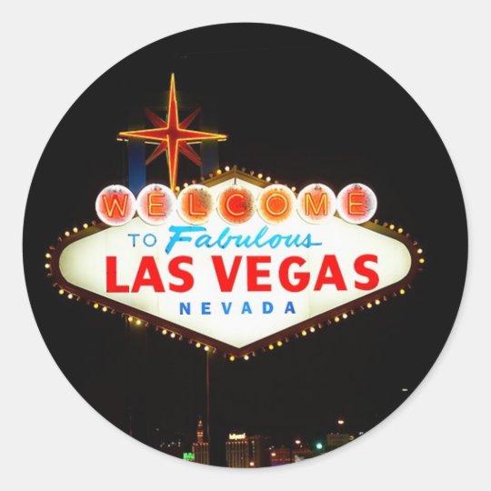 Las Vegas Sign Lit Up At Night Photo Classic Round Sticker