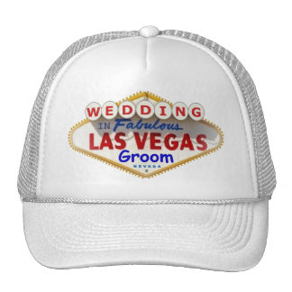 "Las Vegas Sign Logo Groom Cap ""WEDDING"" Trucker Hat"
