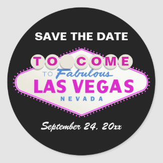 Las Vegas sign modern wedding Save the Date Classic Round Sticker