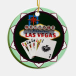 Las Vegas Sign & Two Kings Poker Chip Christmas Tree Ornaments