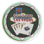 Las Vegas Sign & Two Kings Poker Chip Plate