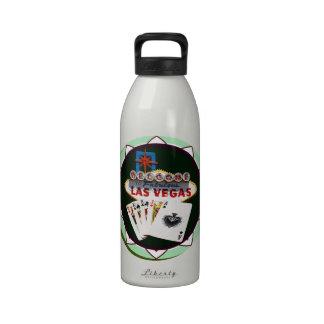 Las Vegas Sign & Two Kings Poker Chip Reusable Water Bottles